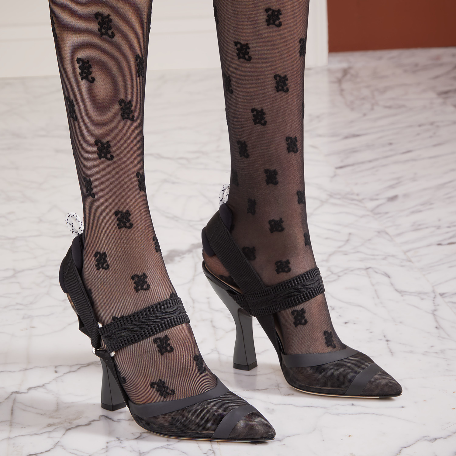 FENDI SLINGBACKS - Colibrì in mesh and black leather - view 5 detail