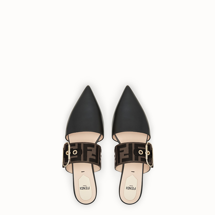 FENDI SLINGBACKS - Black leather slingbacks - view 4 detail