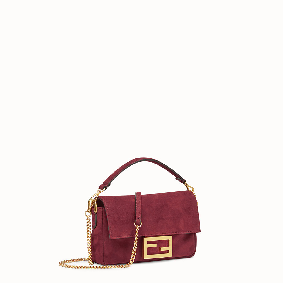 FENDI MINI BAGUETTE - Rosa Veloursleder-Tasche - view 2 detail