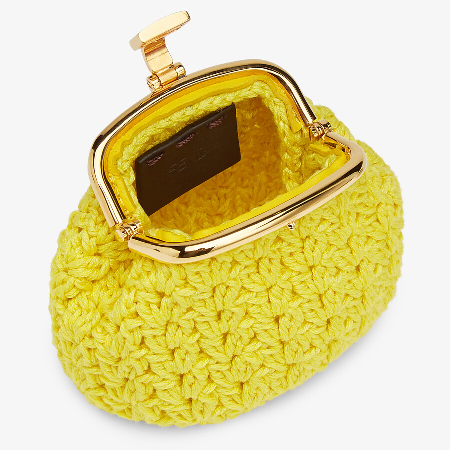 FENDI COIN PURSE - Yellow lace coin purse - view 3 detail