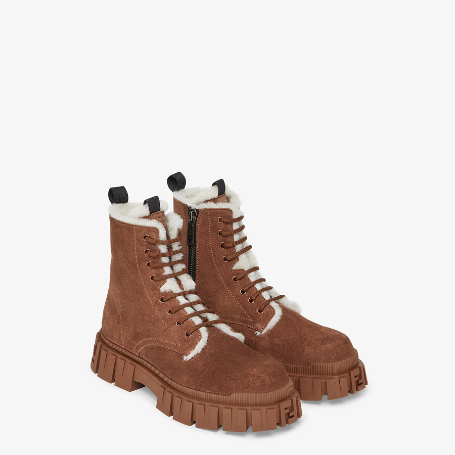 FENDI FENDI FORCE - Brown suede ankle boots - view 4 detail