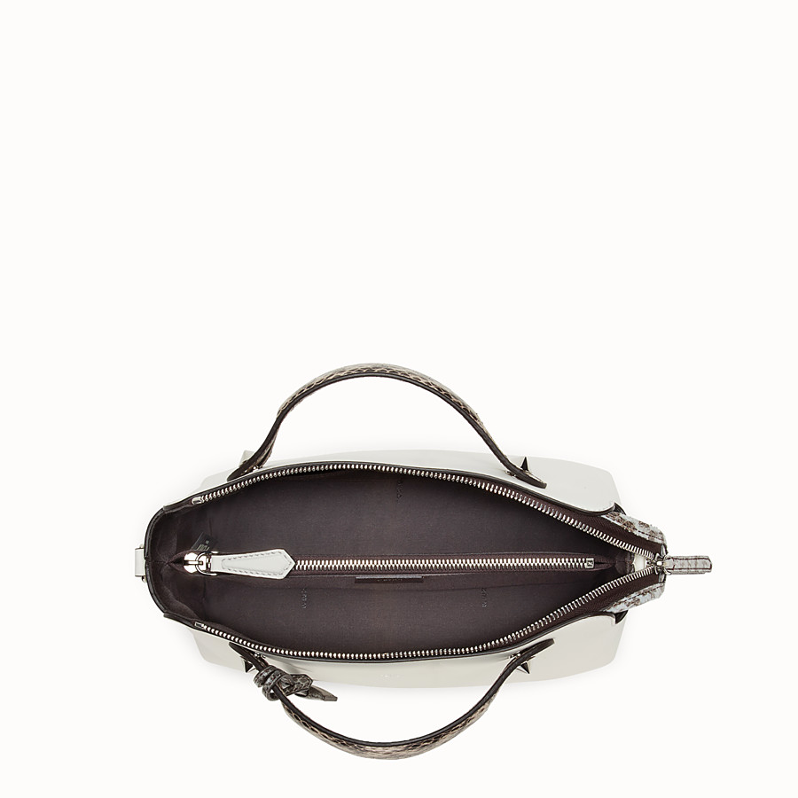 FENDI BY THE WAY REGULAR - White leather Boston bag with exotic details - view 4 detail