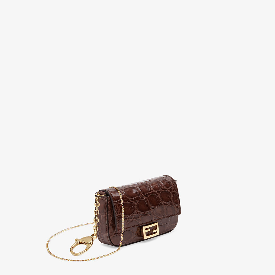 FENDI NANO BAGUETTE CHARM - Brown caiman charm - view 2 detail