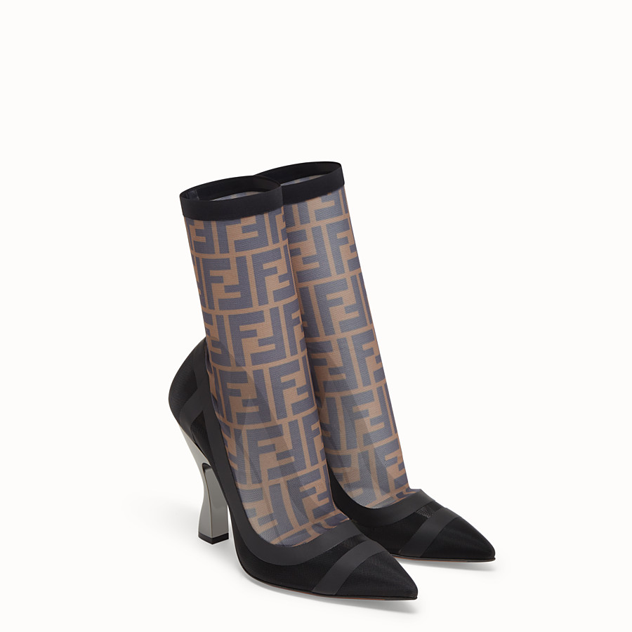 FENDI BOOTS - Black tech mesh booties - view 4 detail