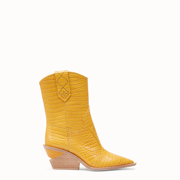 FENDI BOOTS - Yellow crocodile-embossed ankle boots - view 1 small thumbnail