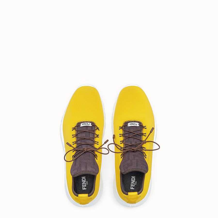 FENDI SNEAKERS - Yellow fabric high-tops - view 3 detail