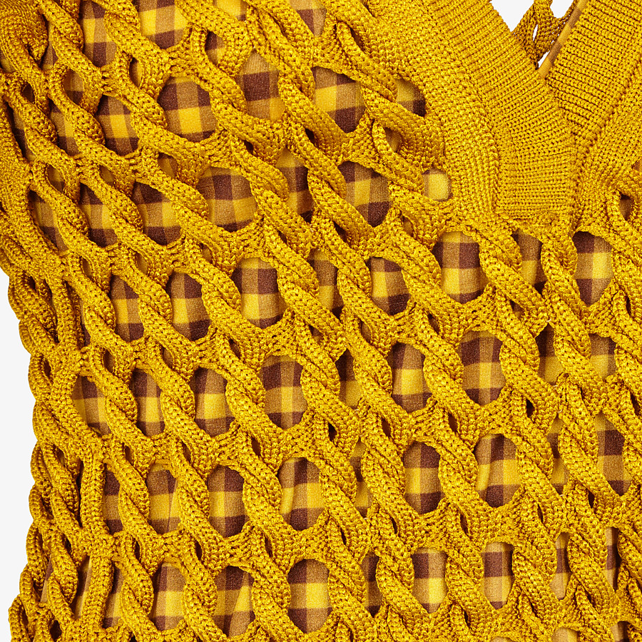 FENDI SWEATER - Yellow knit polo shirt - view 3 detail