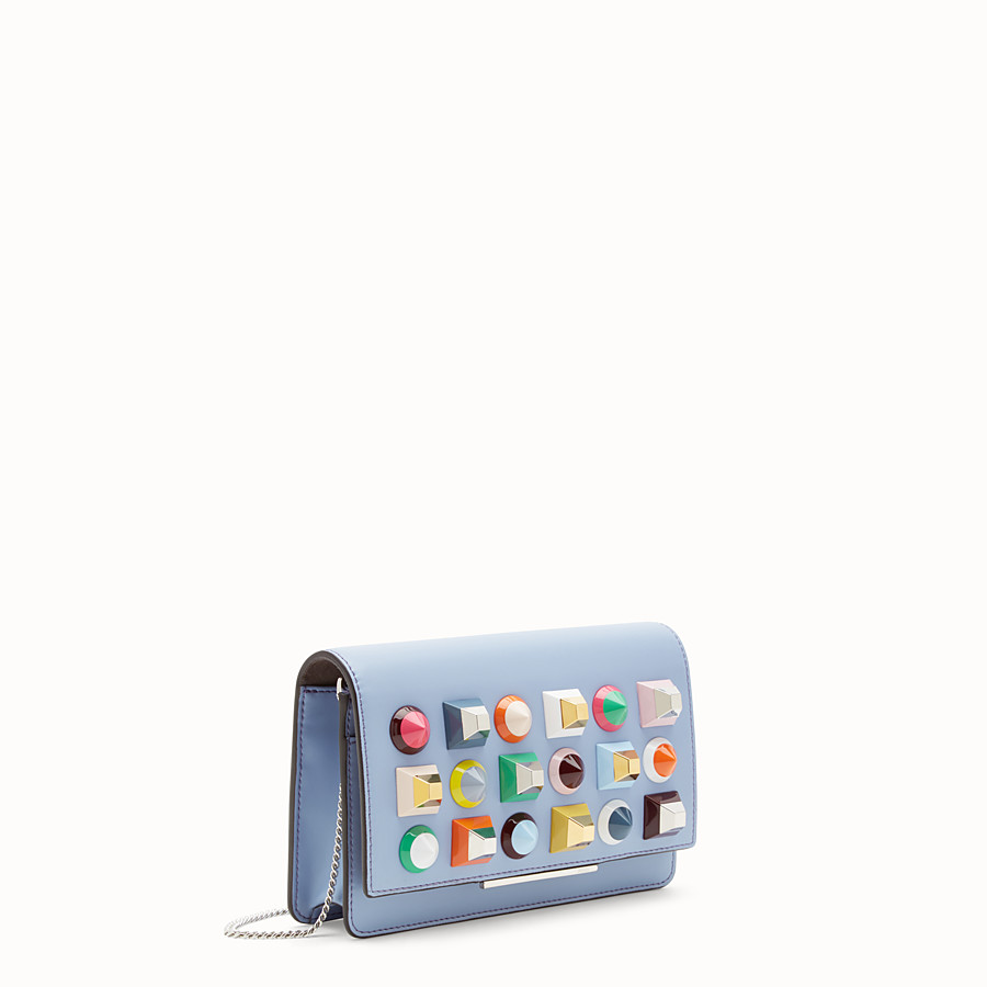 FENDI WALLET ON CHAIN - Light blue leather mini-bag - view 2 detail