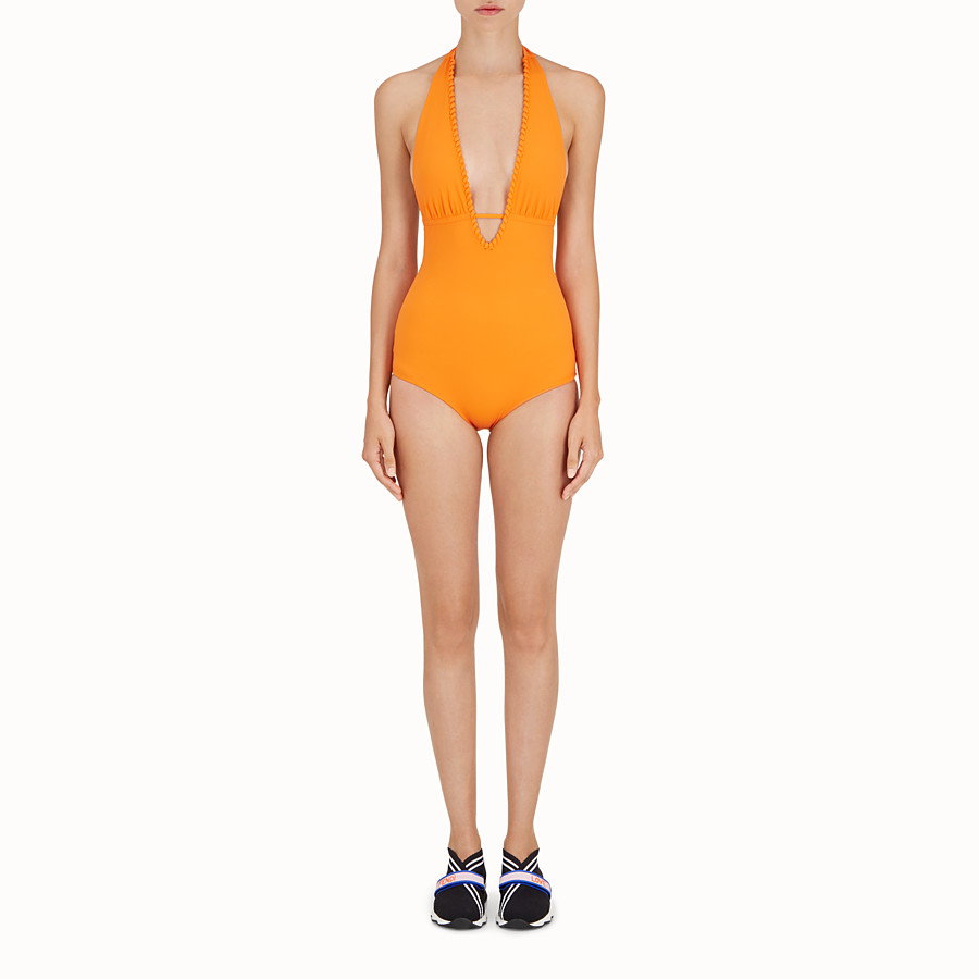 FENDI ONE-PIECE SWIMSUIT - Orange tech fabric swimsuit - view 2 detail