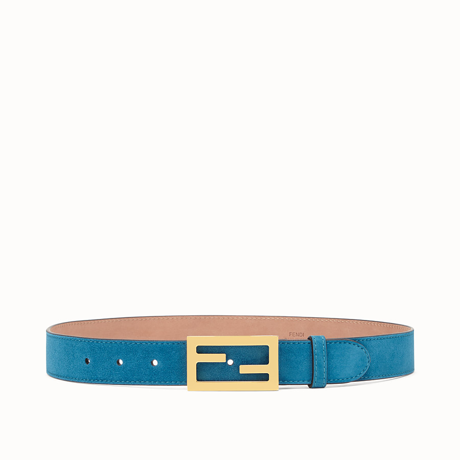 FENDI BAGUETTE BELT - Light blue suede leather belt - view 1 detail