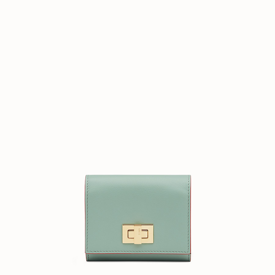 FENDI PEEKABOO CARD HOLDER - in mint green and brown leather - view 1 detail
