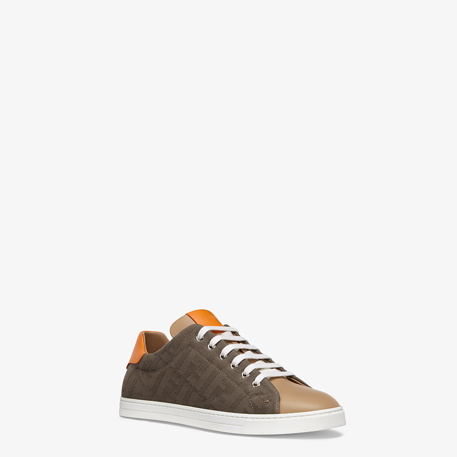 FENDI SNEAKERS - Multicolour canvas and leather low-tops - view 2 detail