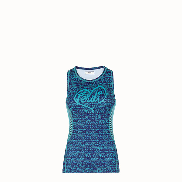 FENDI TANK TOP - Blue tech fabric top - view 1 small thumbnail