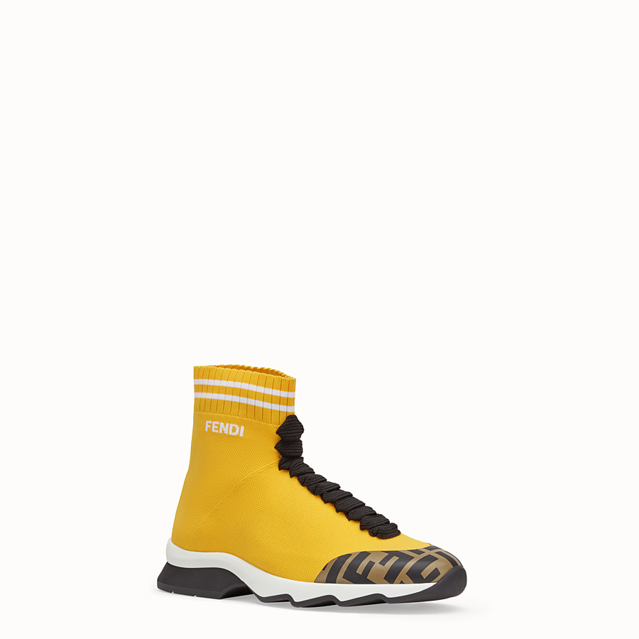 FENDI SNEAKER - Sneaker-Boot aus Stoff in Gelb - view 2 detail