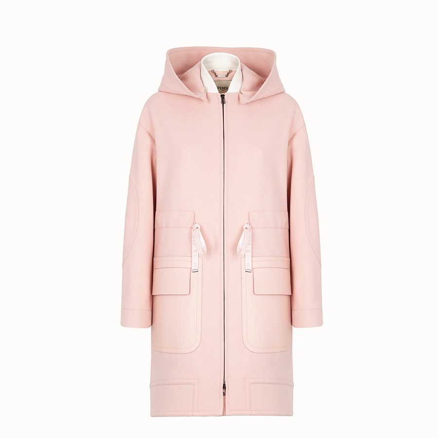 FENDI OVERCOAT - Pink wool parka - view 1 detail
