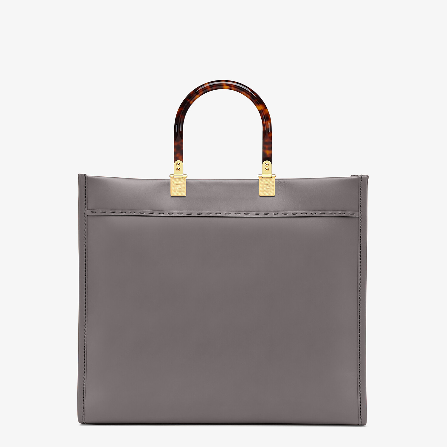 FENDI FENDI SUNSHINE MEDIUM - Gray leather shopper - view 3 detail