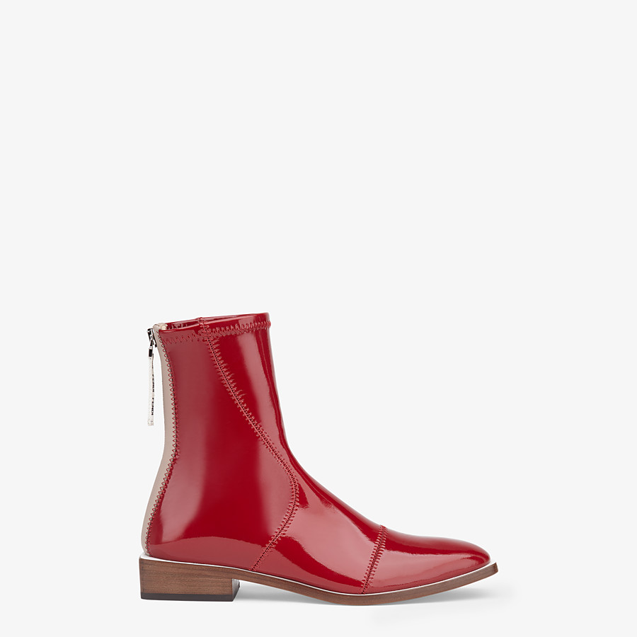 FENDI ANKLE BOOTS - Glossy red neoprene low ankle boots - view 1 detail