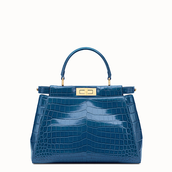 FENDI PEEKABOO REGULAR - Blue crocodile leather handbag. - view 1 small thumbnail