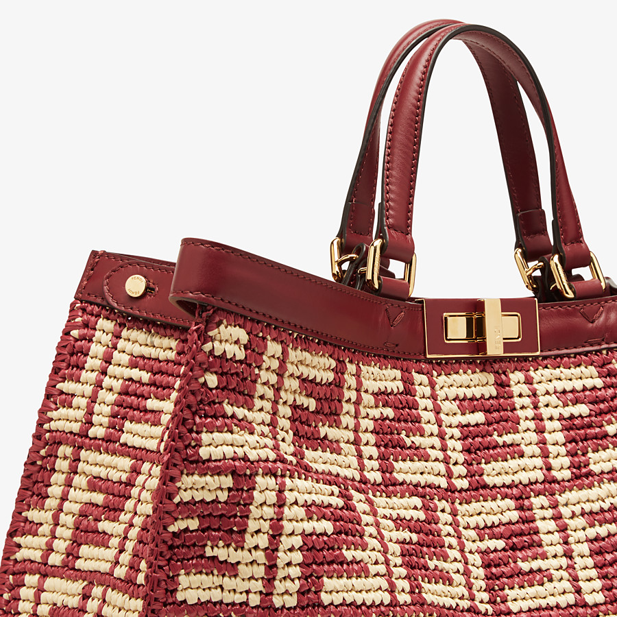 FENDI PEEKABOO X-TOTE - Burgundy FF raffia bag - view 6 detail