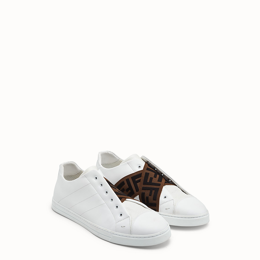 FENDI SNEAKERS - White leather slip-ons - view 1 detail