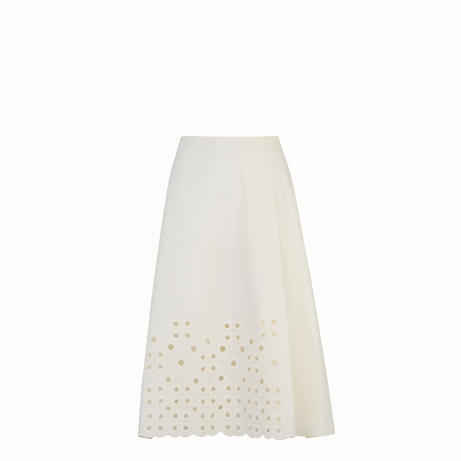 FENDI SKIRT - White taffeta skirt - view 1 detail