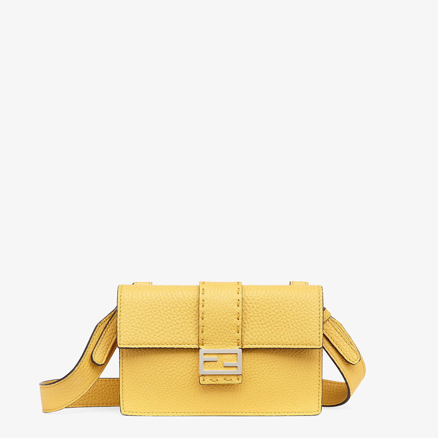 FENDI BAGUETTE POUCH - Yellow leather bag - view 1 detail