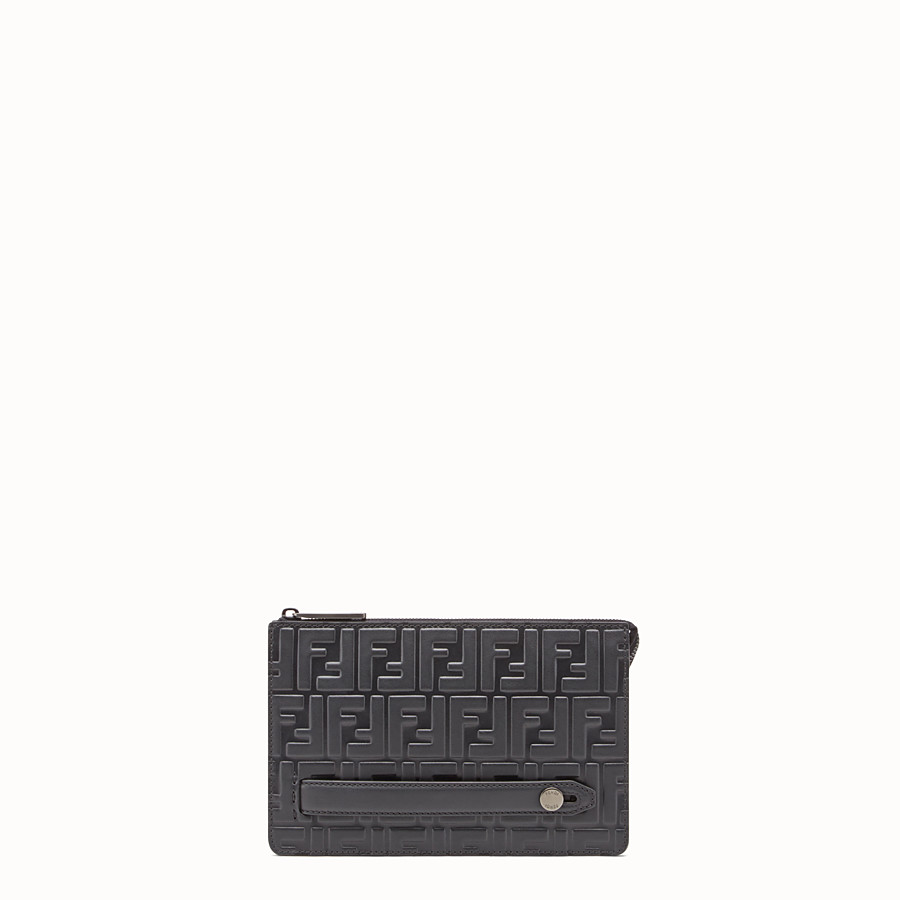 FENDI CLUTCH - Black leather pouch - view 1 detail