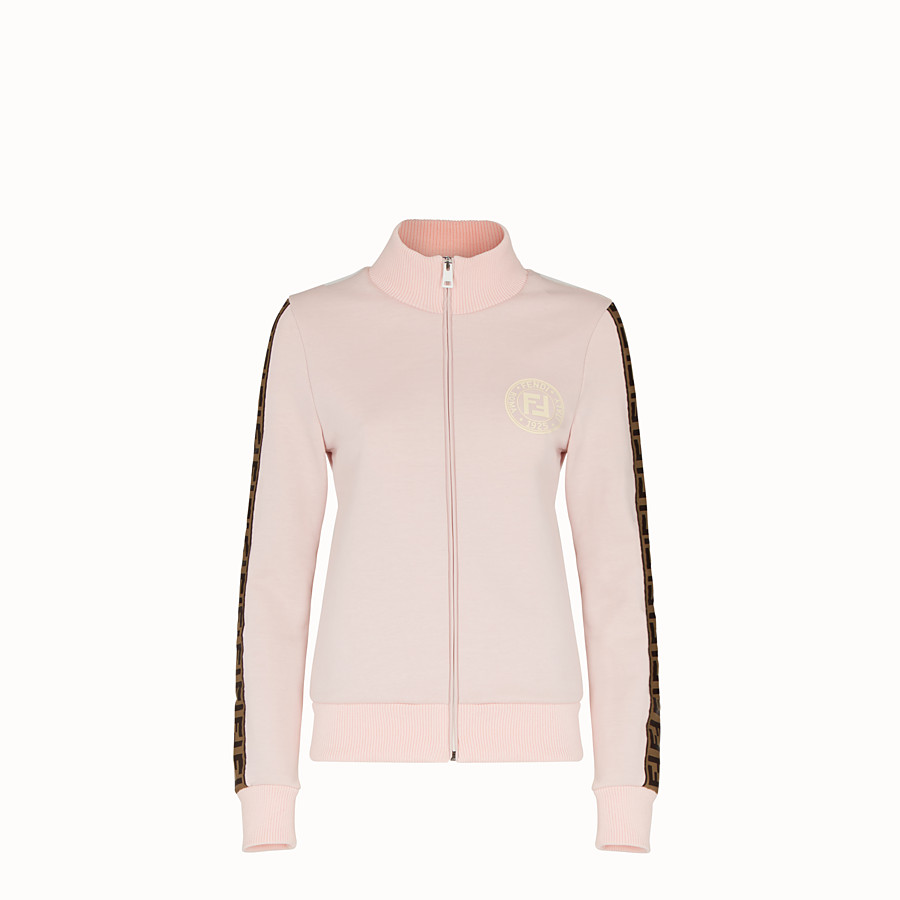 FENDI SWEATSHIRT WITH ZIP - Pink cotton jersey sweatshirt - view 1 detail