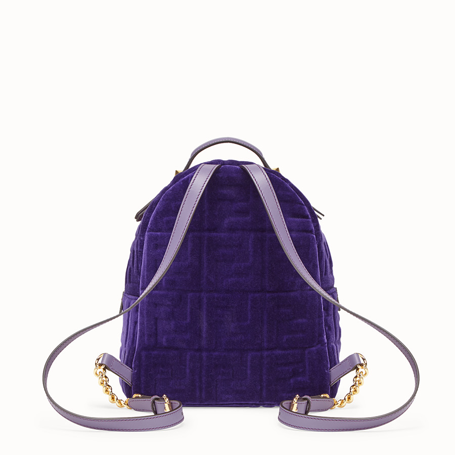 FENDI MINI BACKPACK - Petit sac à dos en velours violet - view 3 detail