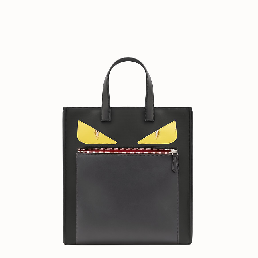 FENDI TOTE - in nylon and black leather - view 1 detail