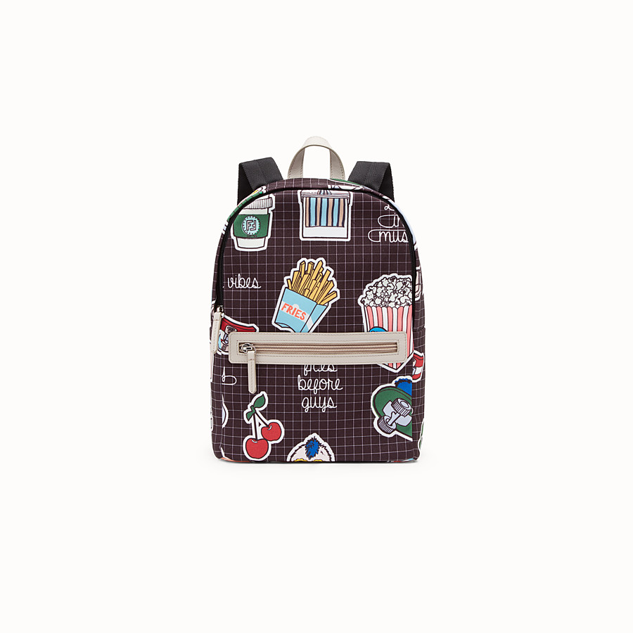 FENDI BABY BACKPACK - Canvas backpack with multicolour all-over print - view 1 detail