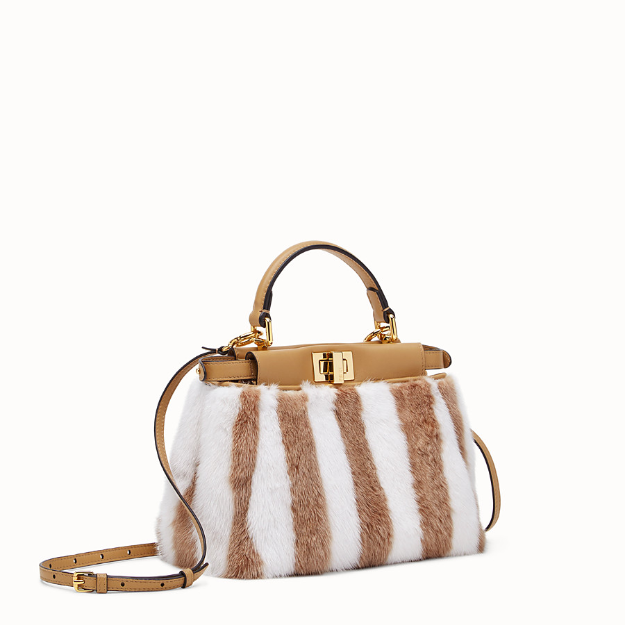 FENDI PEEKABOO ICONIC MINI - White mink bag - view 2 detail