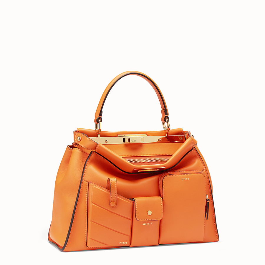 FENDI PEEKABOO REGULAR POCKET - Orange leather bag - view 3 detail