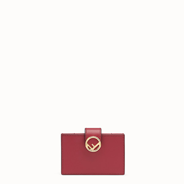 FENDI CARD HOLDER - Red leather gusseted card holder - view 1 small thumbnail