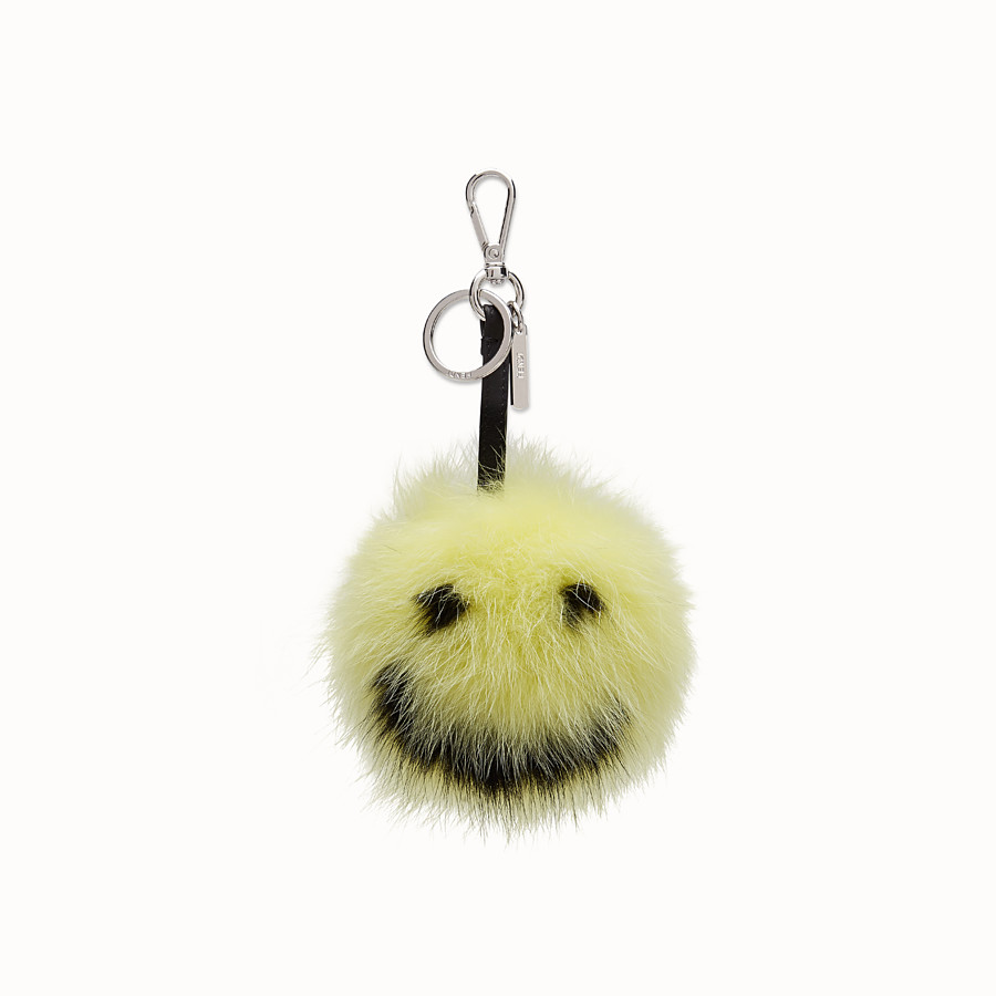 FENDI Smiley® Charm - in yellow and black fur - view 1 detail