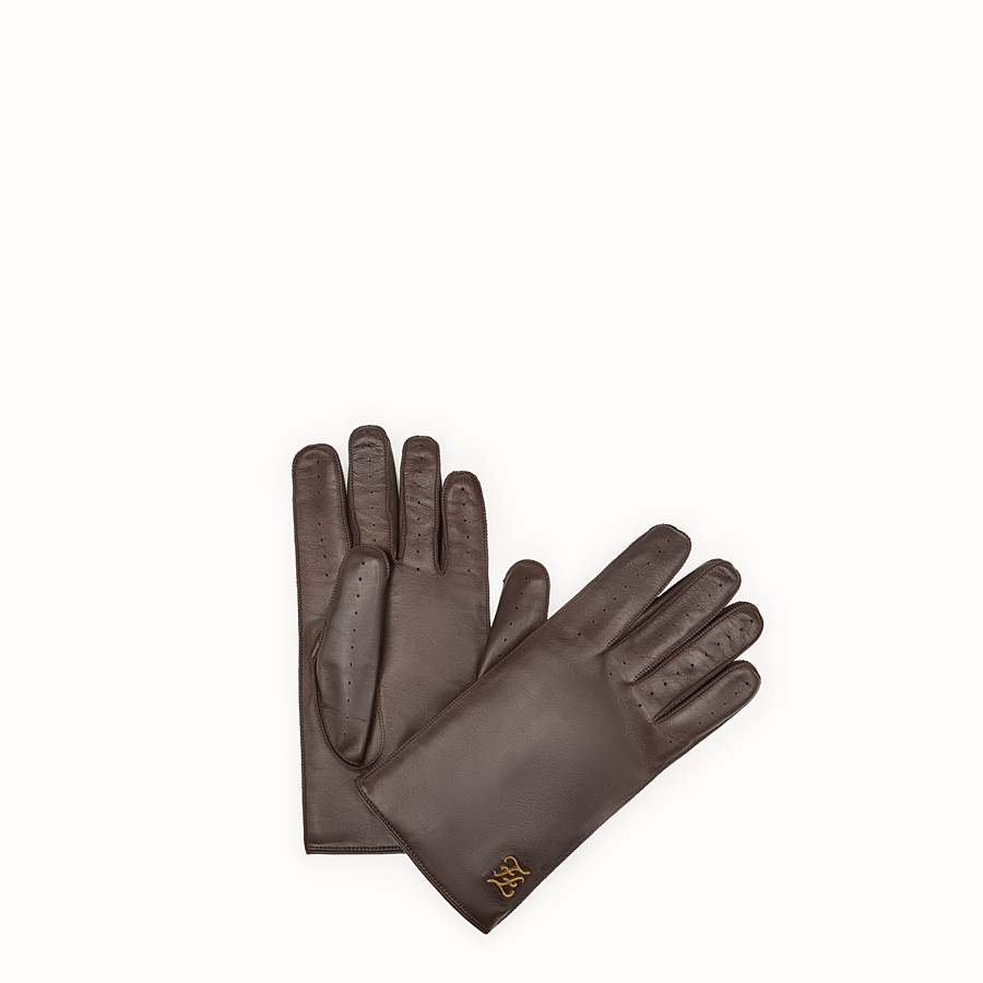 FENDI GLOVES - Brown leather gloves - view 1 detail