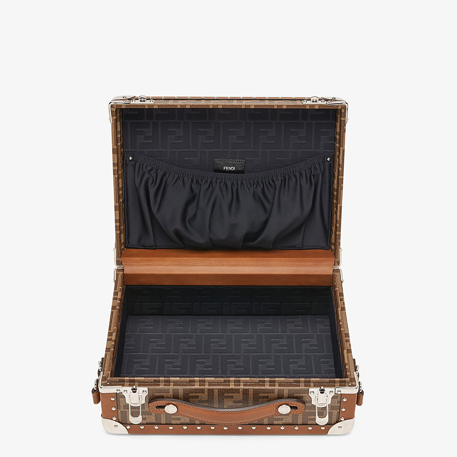 FENDI RIGID SUITCASE SMALL - Brown fabric suitcase - view 4 detail
