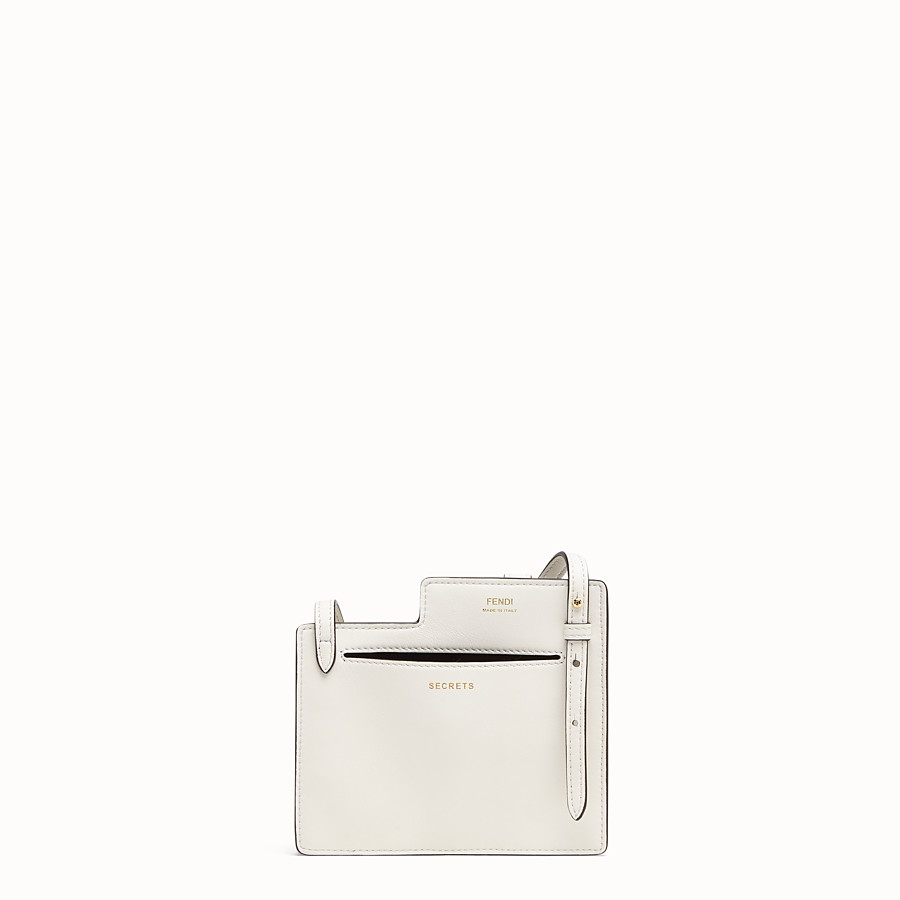 FENDI 2 POCKETS MINI BAG - White leather messenger - view 3 detail