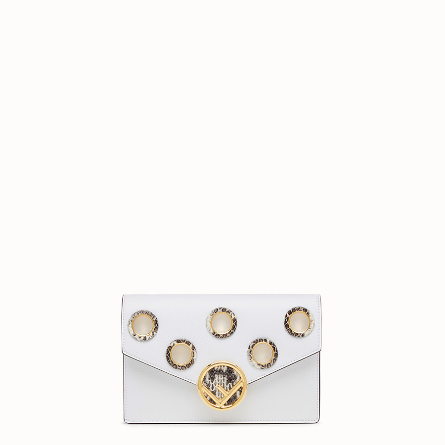 FENDI WALLET ON CHAIN - White leather mini-bag - view 1 detail