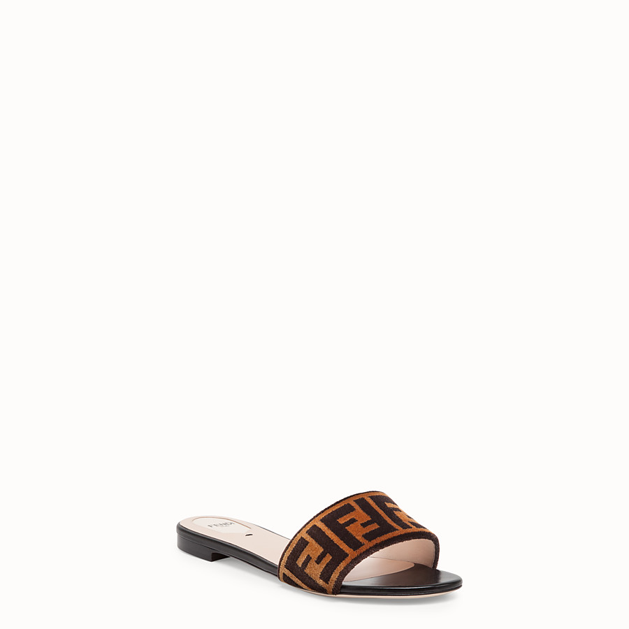 FENDI FLAT SANDALS - Multicolour leather and fabric slides - view 2 detail