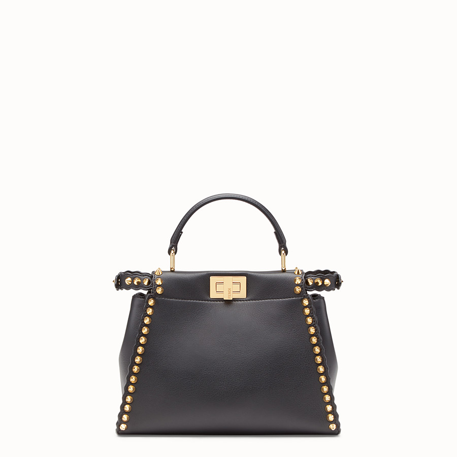FENDI PEEKABOO MINI - Sac en cuir noir - view 3 detail