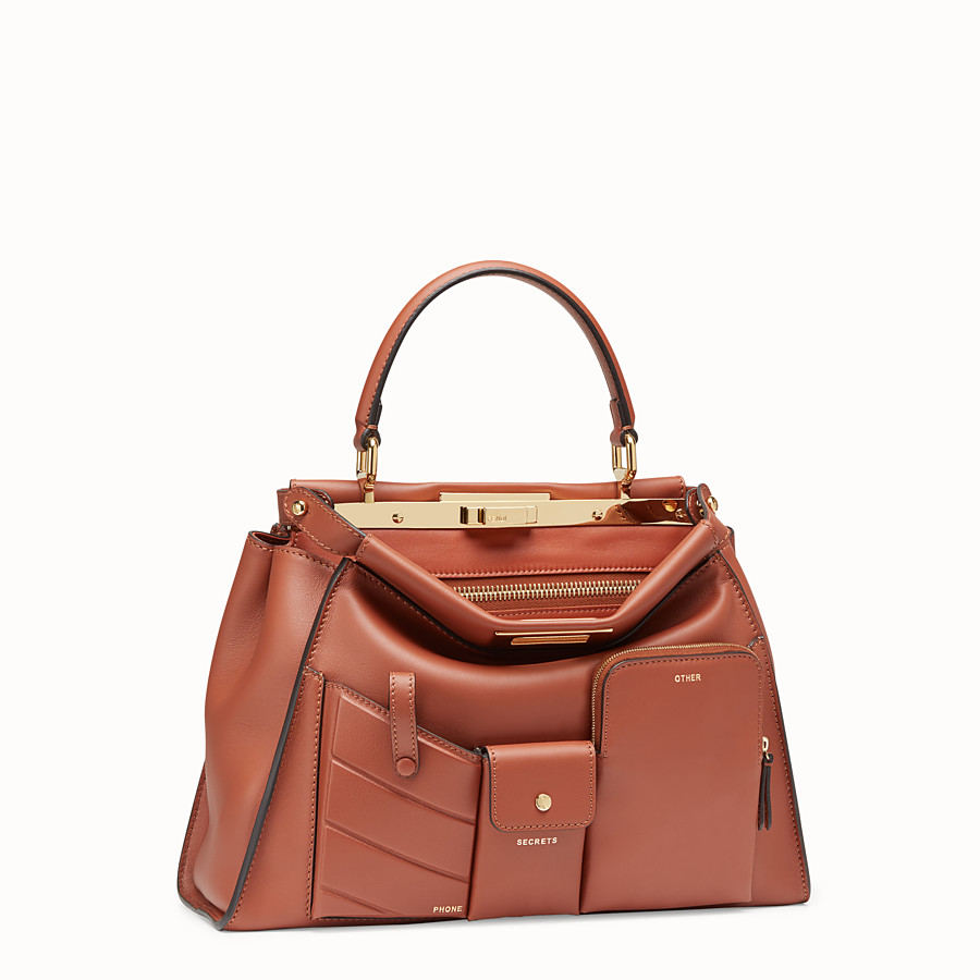 FENDI PEEKABOO REGULAR POCKET - Brown leather bag - view 3 detail