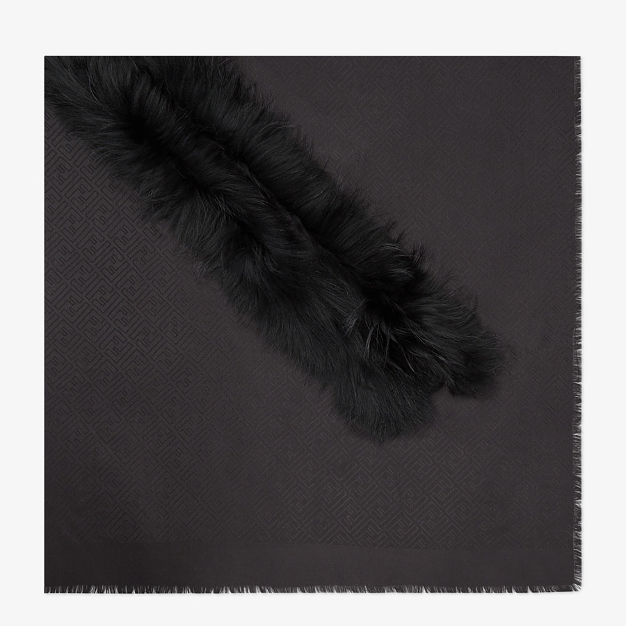 FENDI TOUCH OF FUR SHAWL - Black silk and wool shawl - view 1 detail
