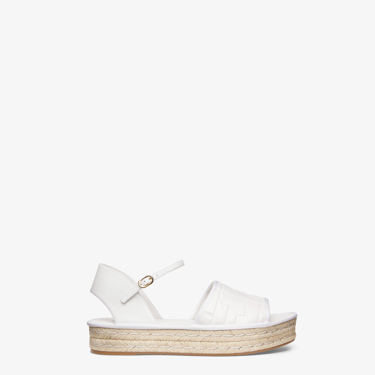 FENDI ESPADRILLES - White leather flatform espadrilles - view 1 detail