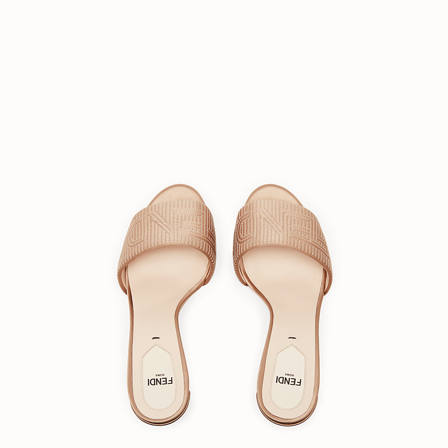FENDI SABOTS - Beige satin high-heeled sandals - view 4 detail