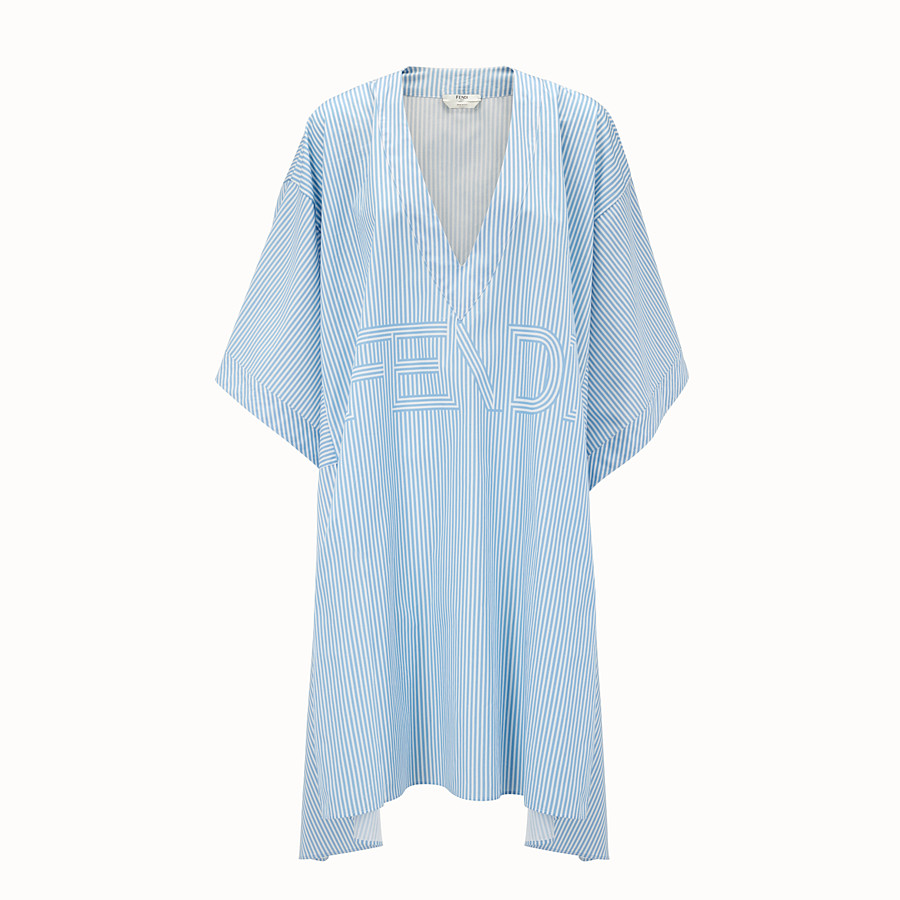 FENDI KIMONO DRESS - Light blue cotton dress - view 1 detail