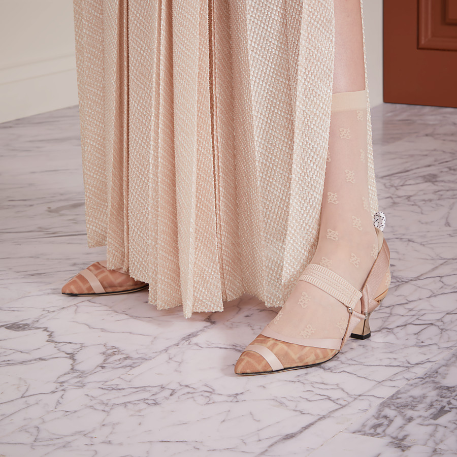 FENDI SLINGBACK - Colibrì in pink mesh and nude leather - view 5 detail