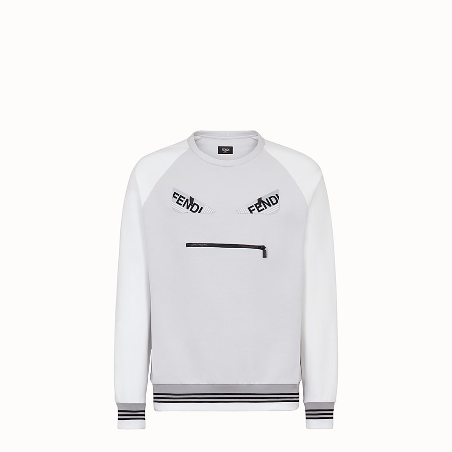 FENDI SWEATSHIRT - White cotton jersey sweatshirt - view 1 detail