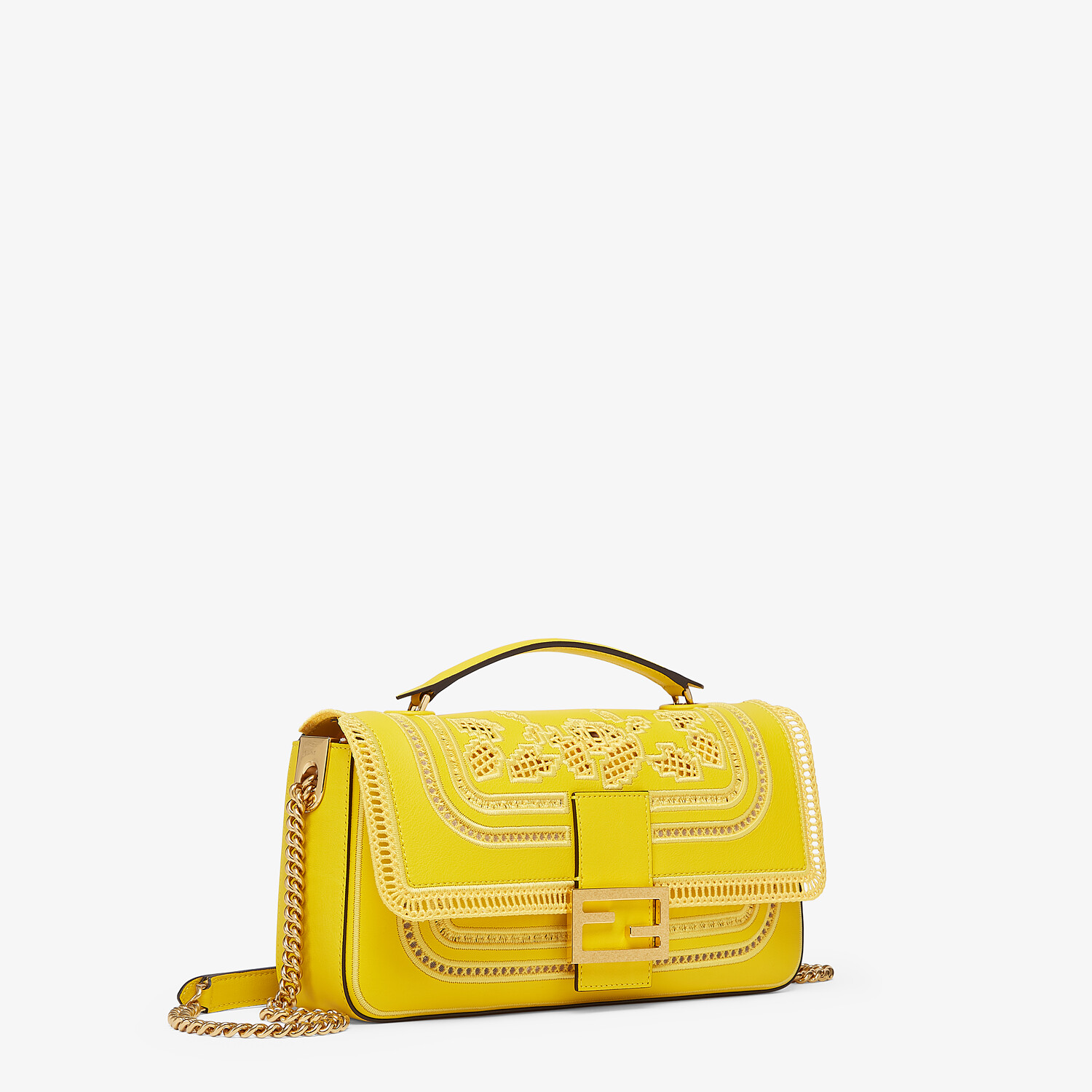 FENDI BAGUETTE CHAIN - Embroidered yellow leather bag - view 2 detail