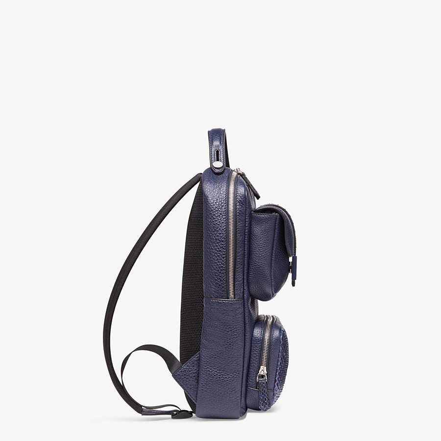 FENDI BACKPACK - Blue calf leather backpack - view 2 detail
